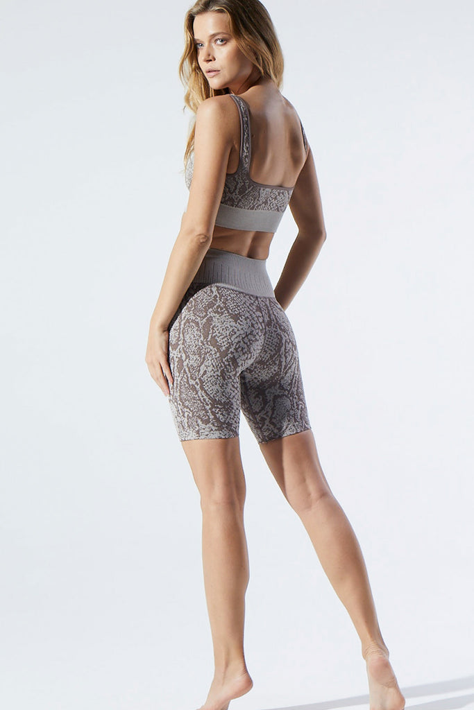 Pasha Python Bike Shorts in Pewter