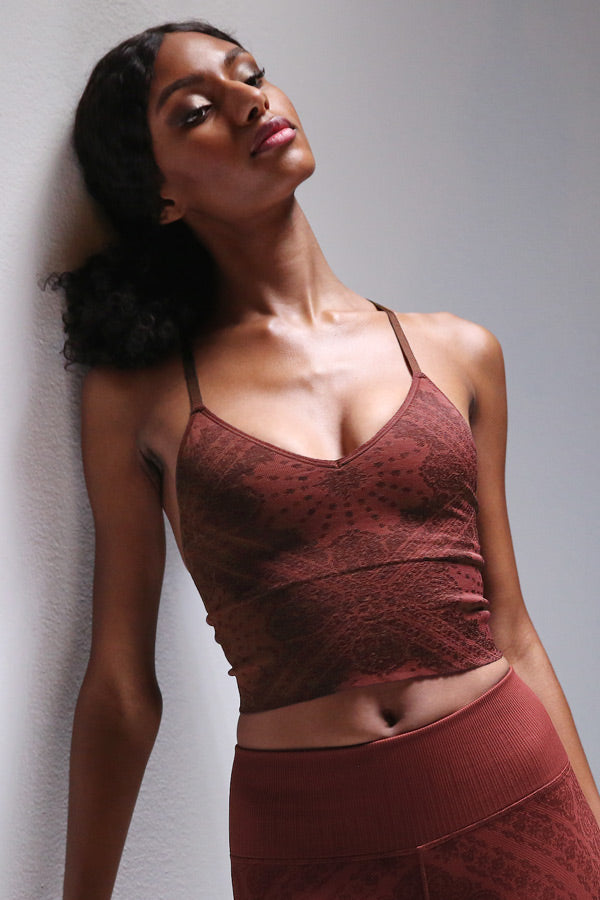 Priya Paisley Strappy Back Bra in Fired Brick