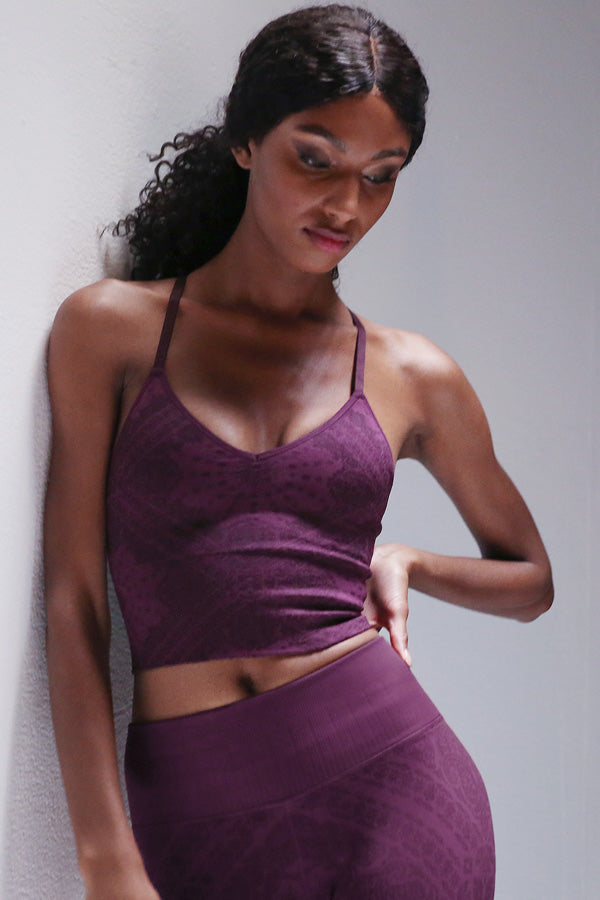 Priya Paisley Strappy Back Bra in Potent Purple