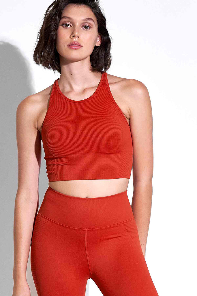 Ramona Racer Crop Bra in Aura Orange