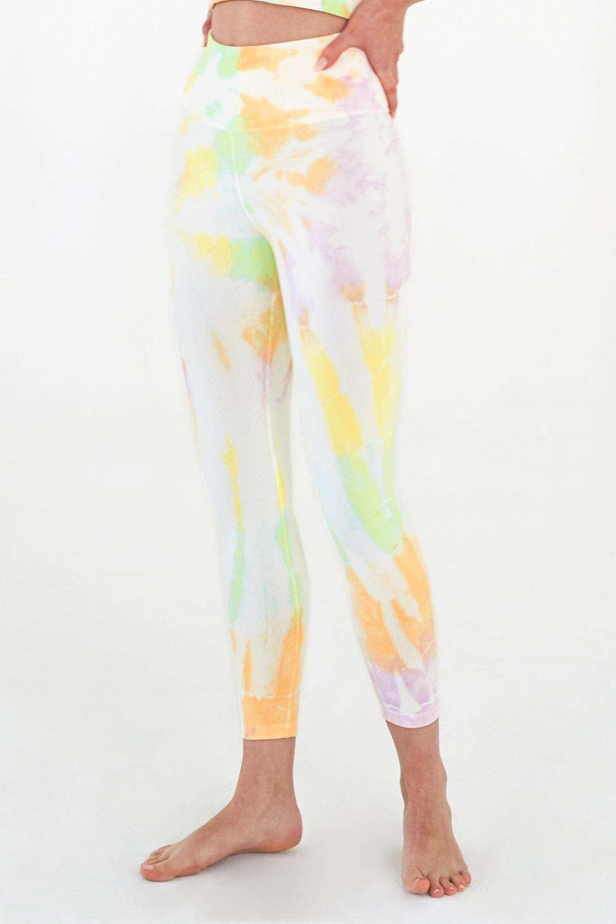 Renee 7/8 Rib Legging in Sorbet Spiral
