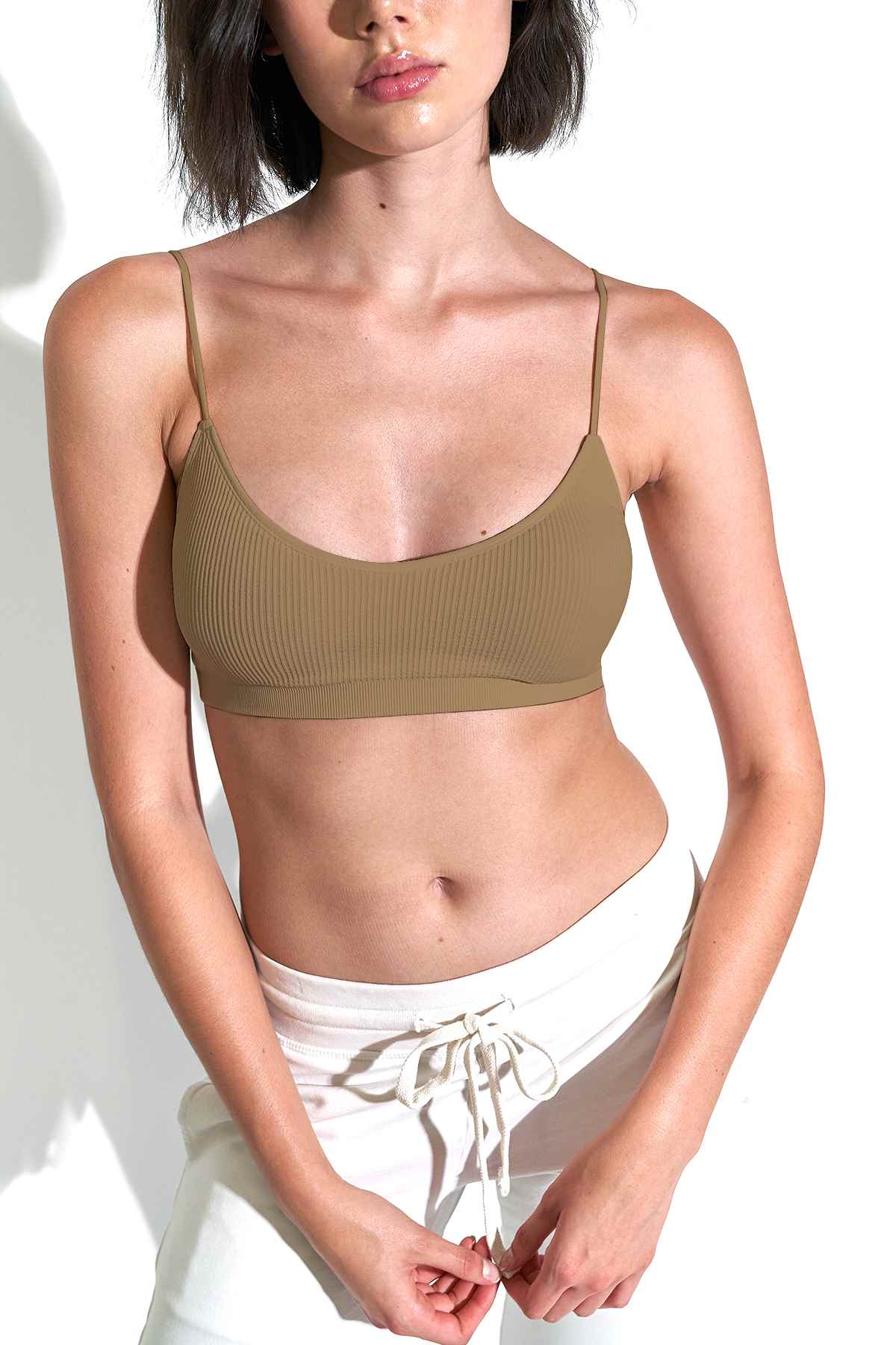 Reya Everyday Rib Bralette in Pine Bark