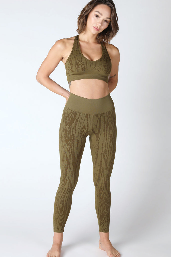 Willow Woodgrain Deep V Bra in Roasted Olive