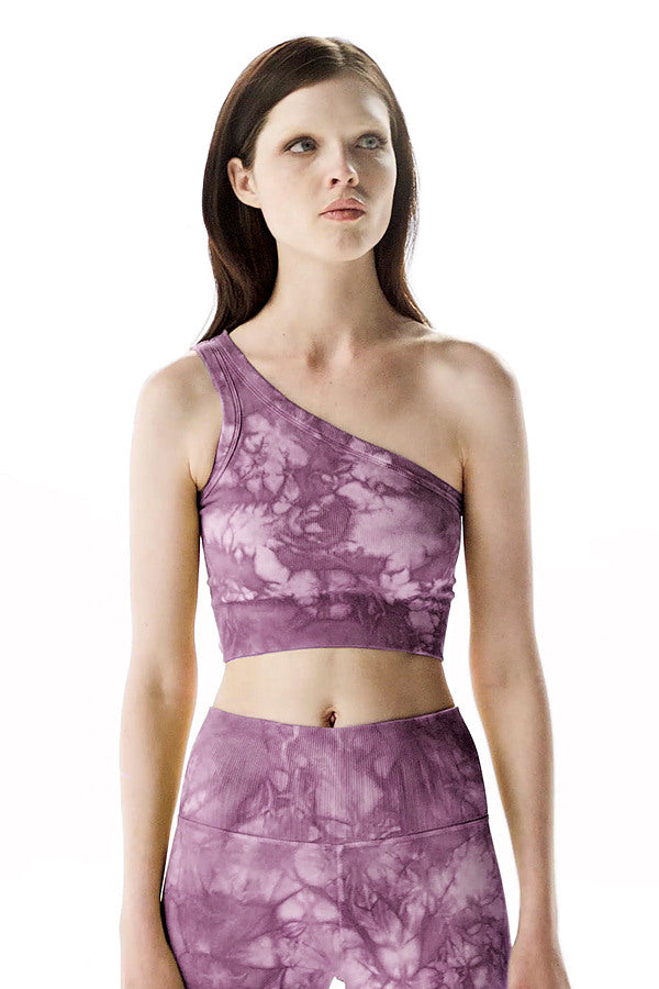 Rock Wash Onita One Shoulder Bra in Lavender Rock Wash