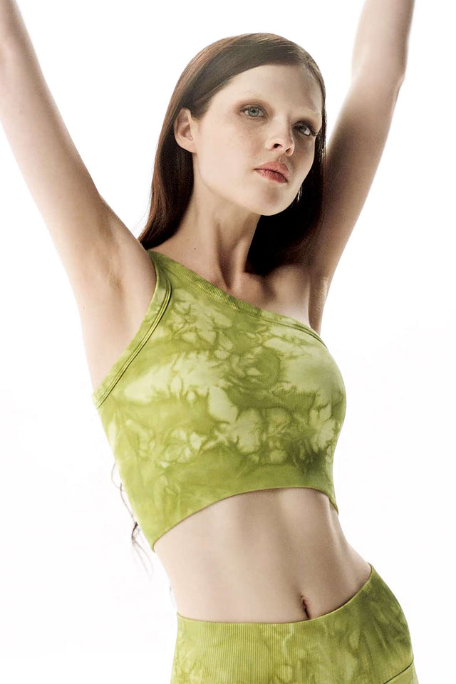 Rock Wash Onita One Shoulder Bra in Moss Rock Wash