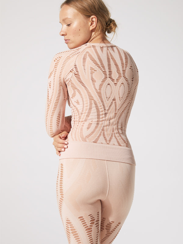 Serenity Shred LS Top in Rose Milk
