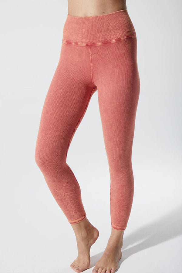 Rachel Rib 7/8 Legging in Vintage Red Rock