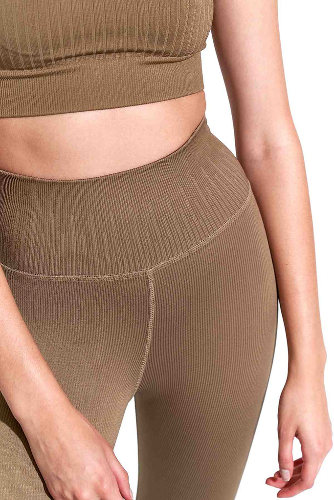 Selina Shiny Rib V-Back 7/8 Legging in Pine Bark