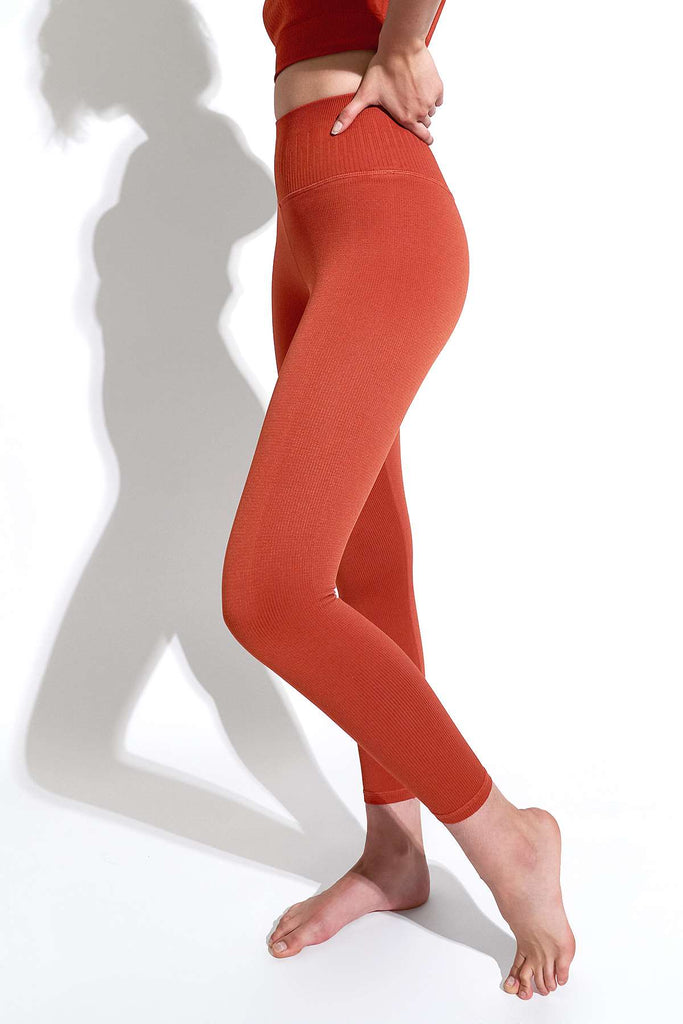 Selina Shiny Rib V-Back 7/8 Legging in Red Clay