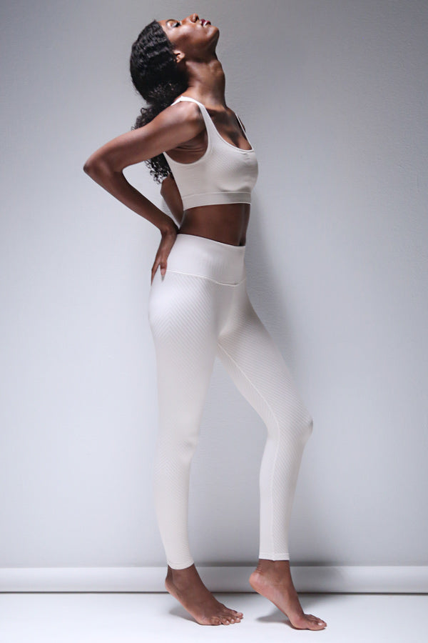 Shayna Chevron Legging in White Sand