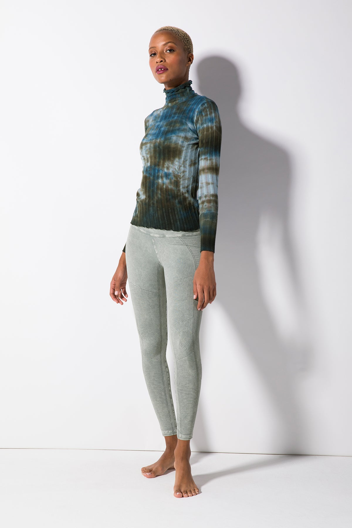 Maisie Marrow Turtleneck Top in Stormy Seas Wash