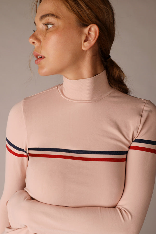 Stripe LS Top in Sepia Rose