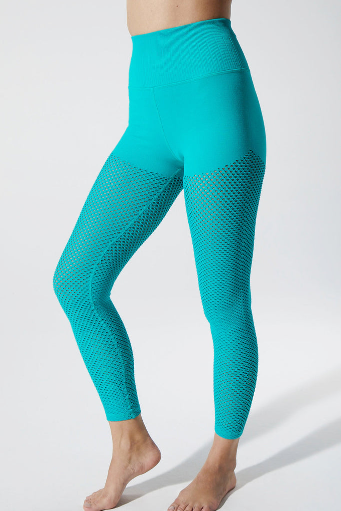 Melissa Mesh 7/8 Legging in Mermaid Green