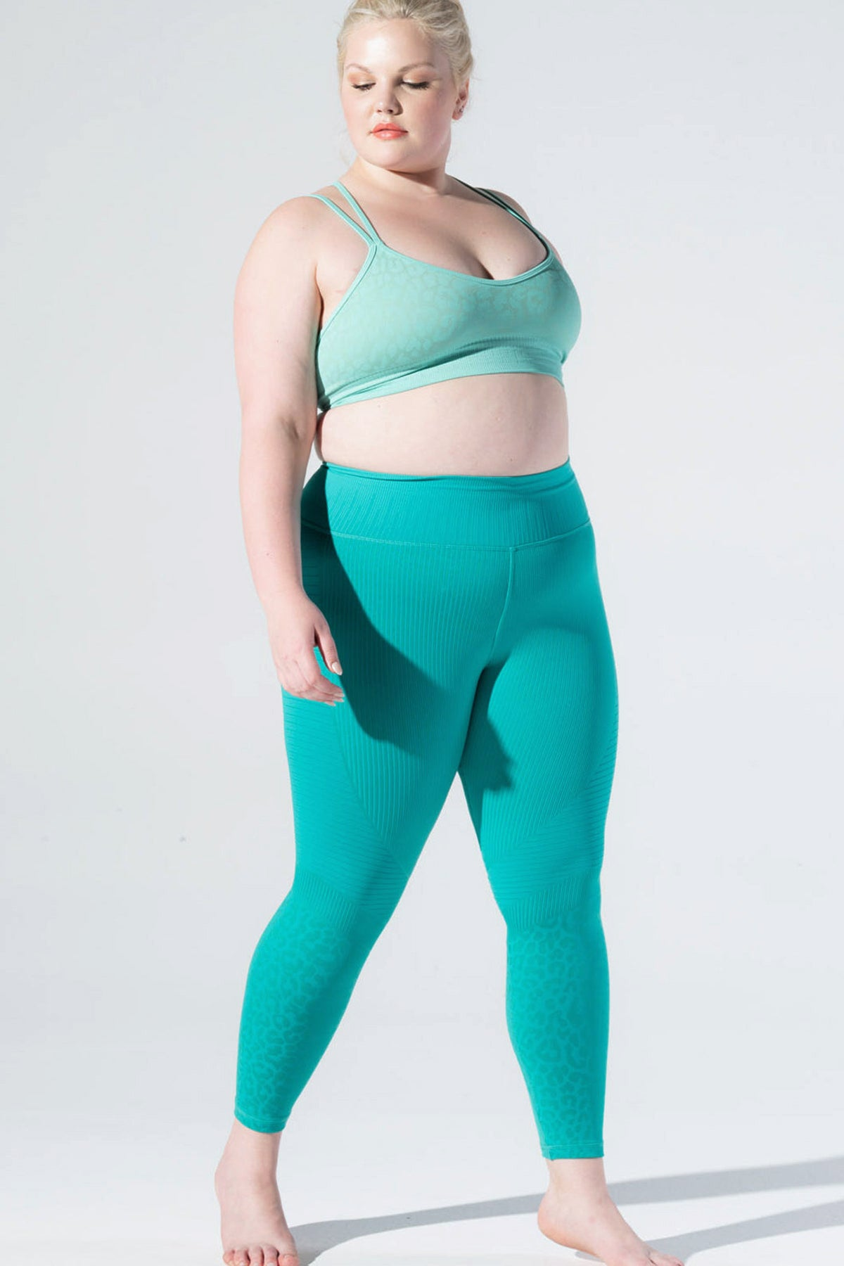 Leopard Moto Legging in Mermaid Green