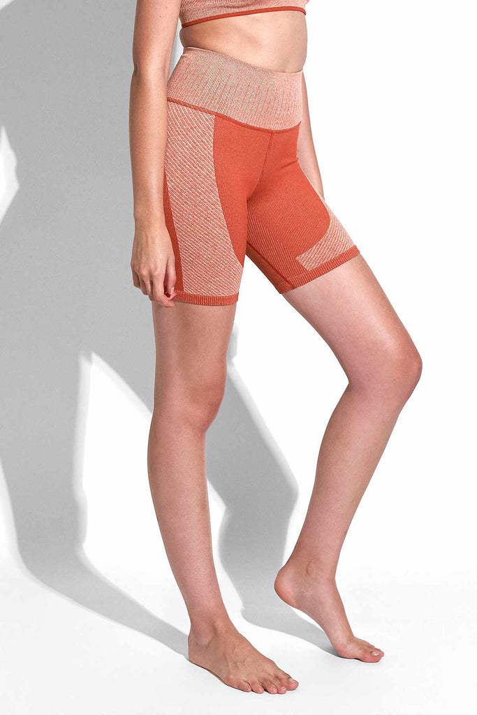 Valerie Variegated Rib Short in Red Clay