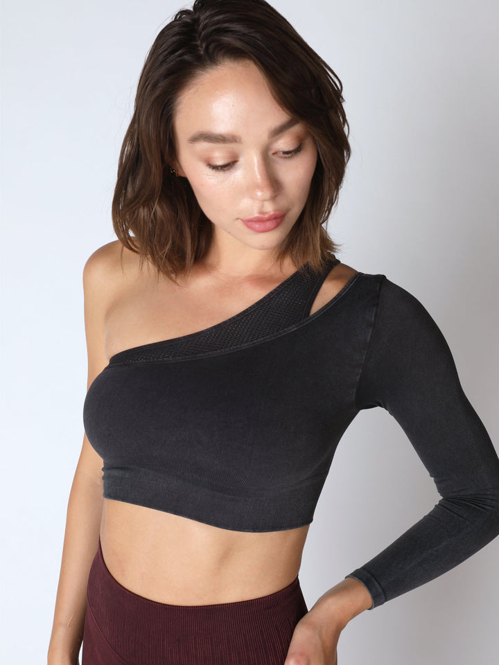Mercury Bra L/S Crop in Vintage Black