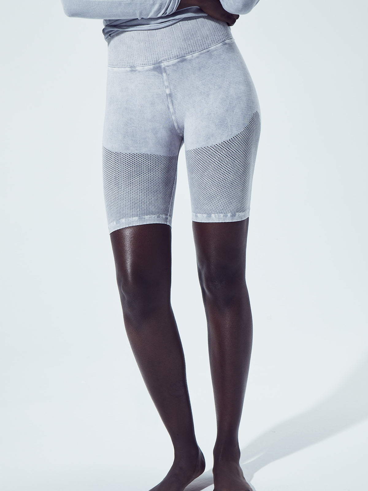 Mesh Biker Shorts in Vintage Cool Grey