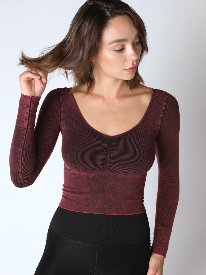 Leila Long Sleeve Shirred Top in Vintage Acai