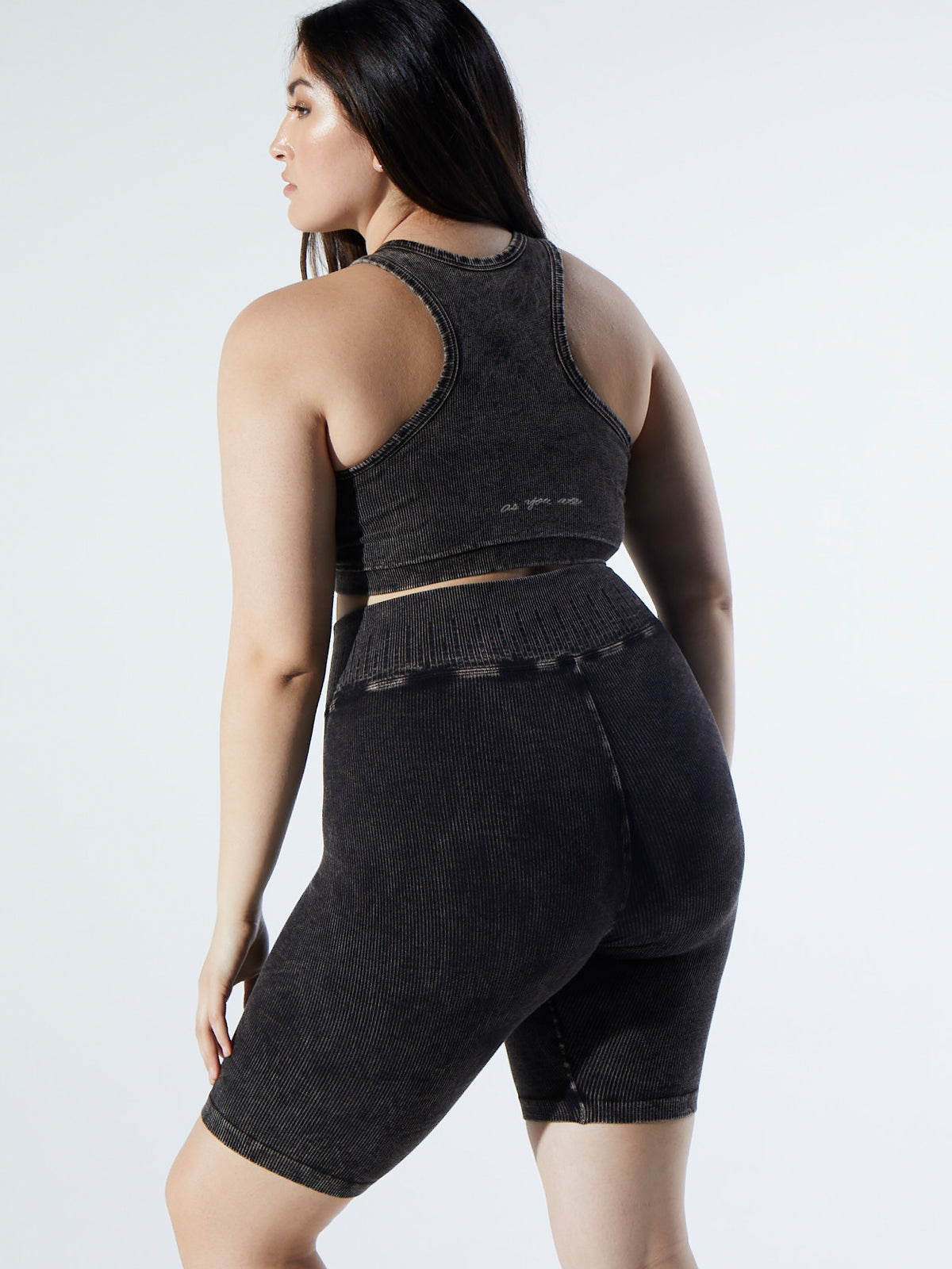 Rachel Rib Racer Crop in Vintage Black