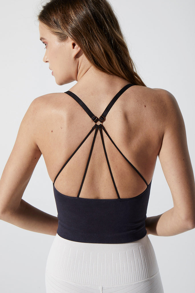 Stella Strappy Back Bra in Vintage Black