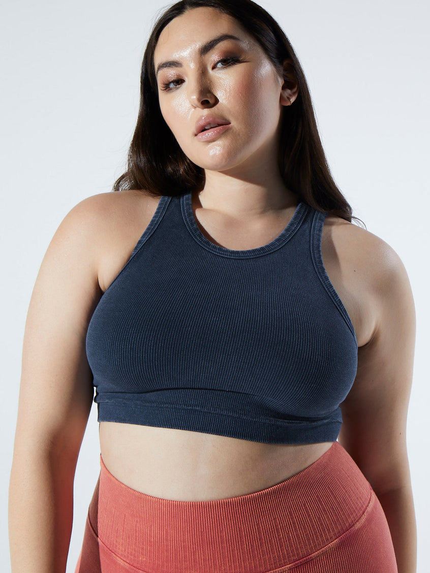 Rachel Rib Racer Crop in Vintage Deep Sea