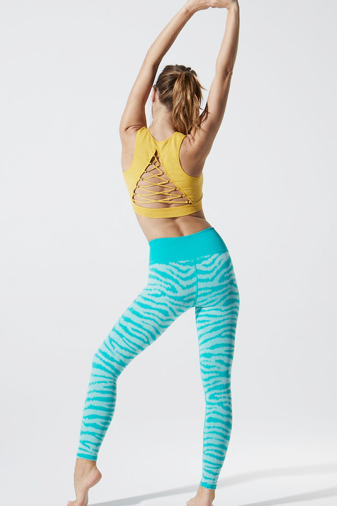 Ikat Zebra Legging in Mermaid Green