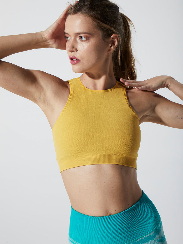 Lizzie Lace Back Crop in Vintage Lemon Chrome