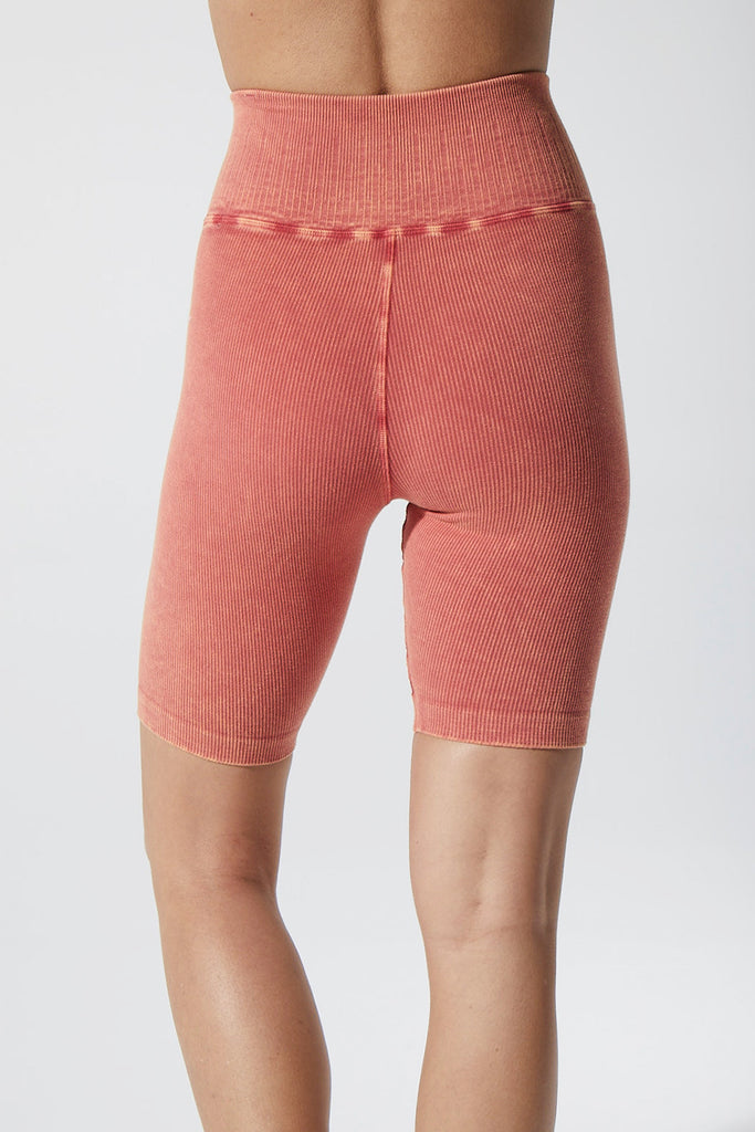 Rachel Rib Bike Shorts in Vintage Red Rock