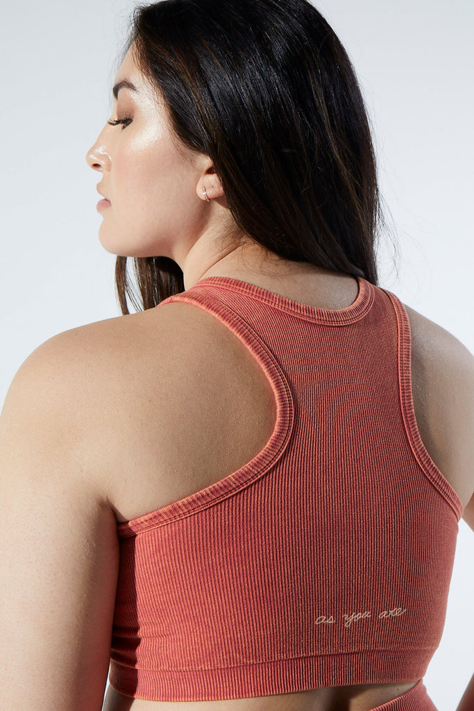 Rachel Rib Racer Crop in Vintage Red Rock