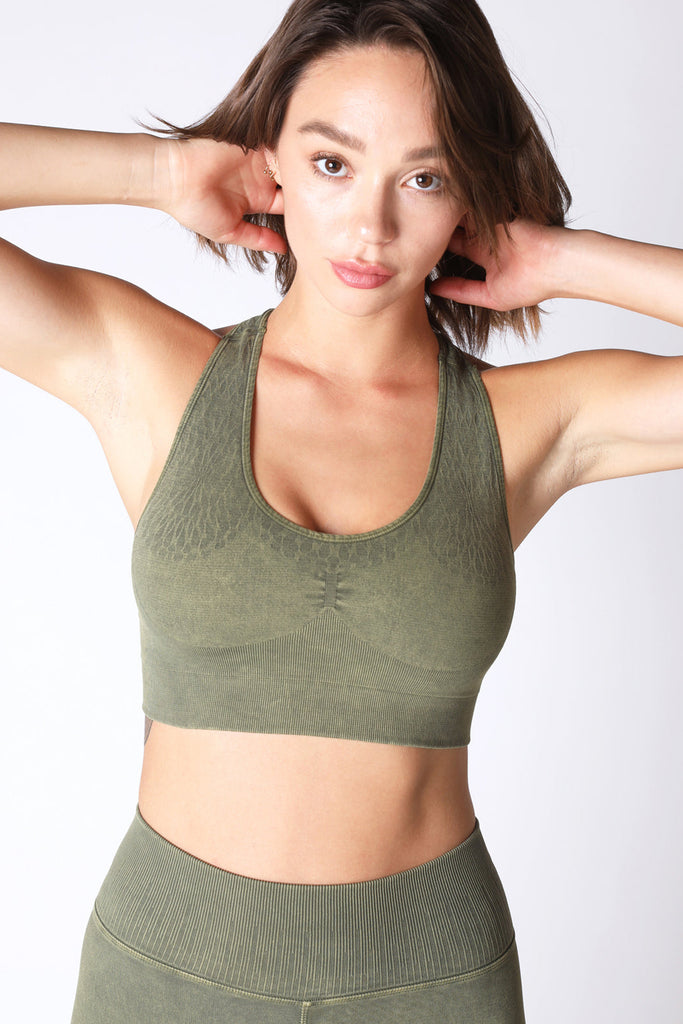 Kelsey Kaleidoscope Bra in Vintage Roasted Olive