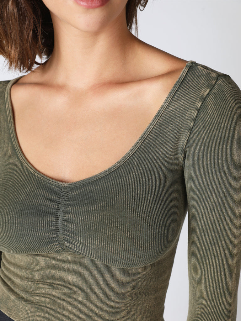 Leila Long Sleeve Shirred Top in Vintage Roasted Olive