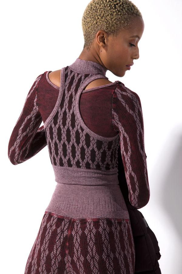 Fair Isle Layered Mock Neck in Vintage Acai