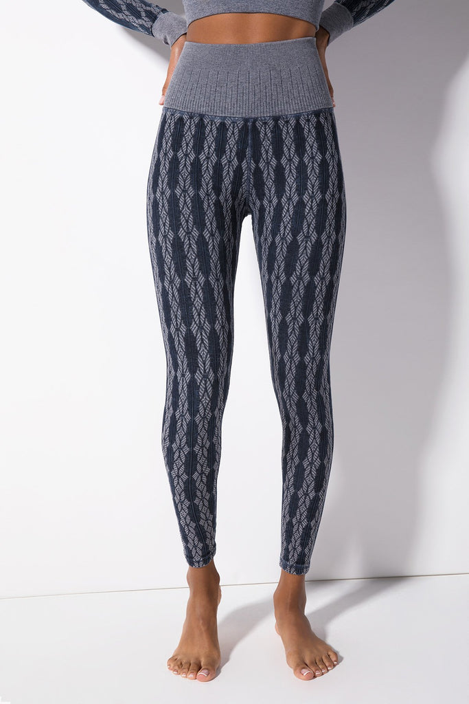Fair Isle Legging in Vintage Denim