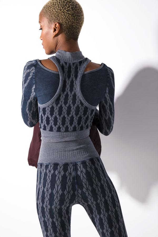 Fair Isle Layered Mock Neck in Vintage Denim