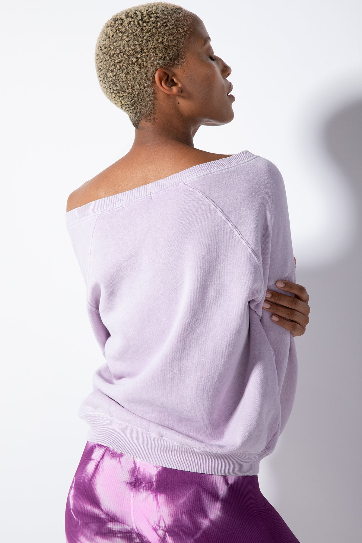 Pia Peasant Sleeve Pullover in Vintage Lavender Frost
