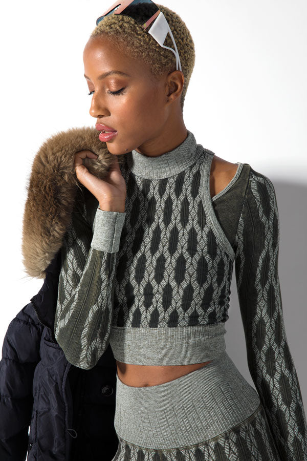 Fair Isle Layered Mock Neck in Vintage Olive Night