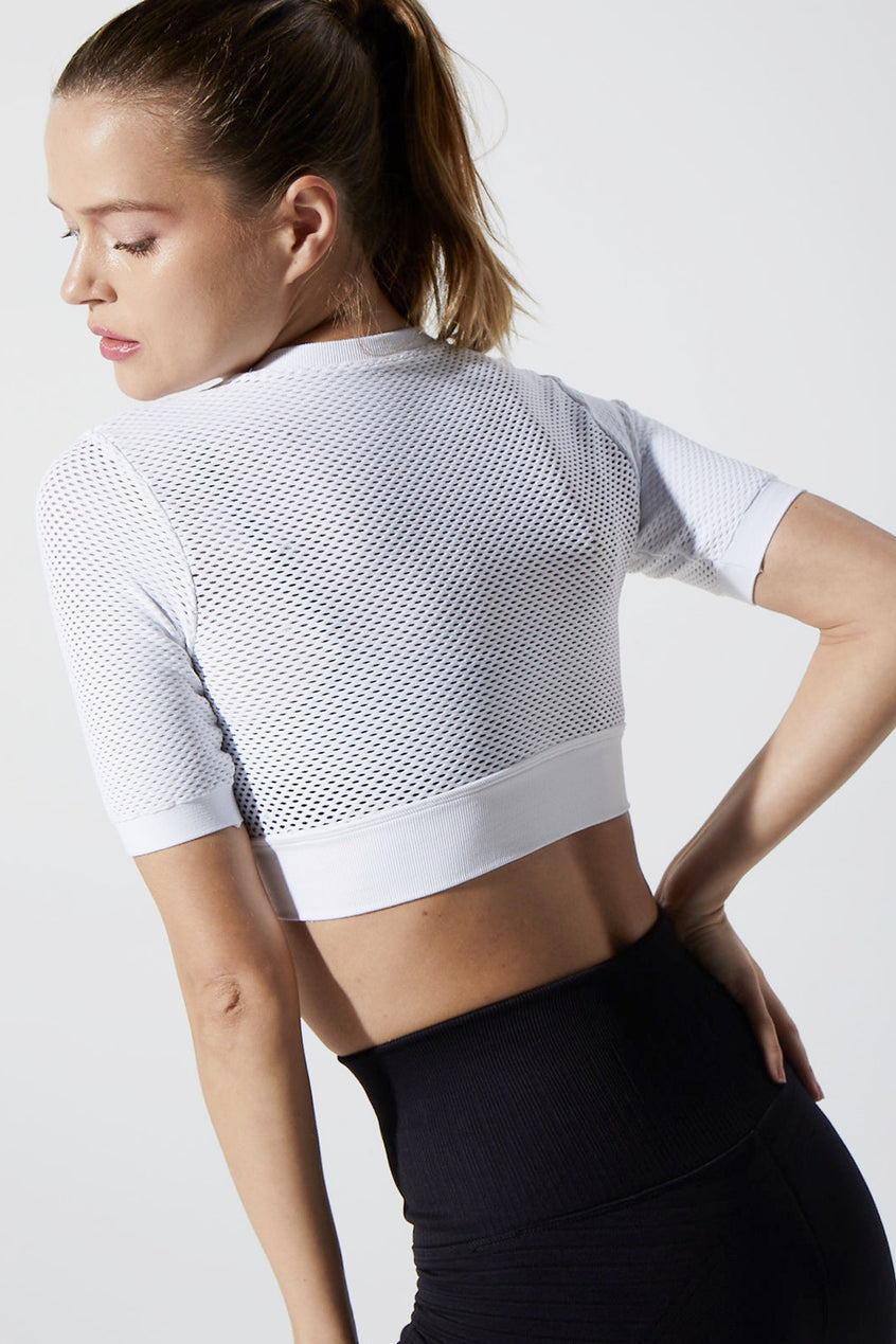 Melissa Overlay Mesh Crop in White & Black