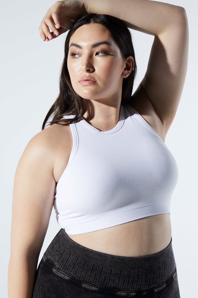 Rachel Rib Racer Crop in White