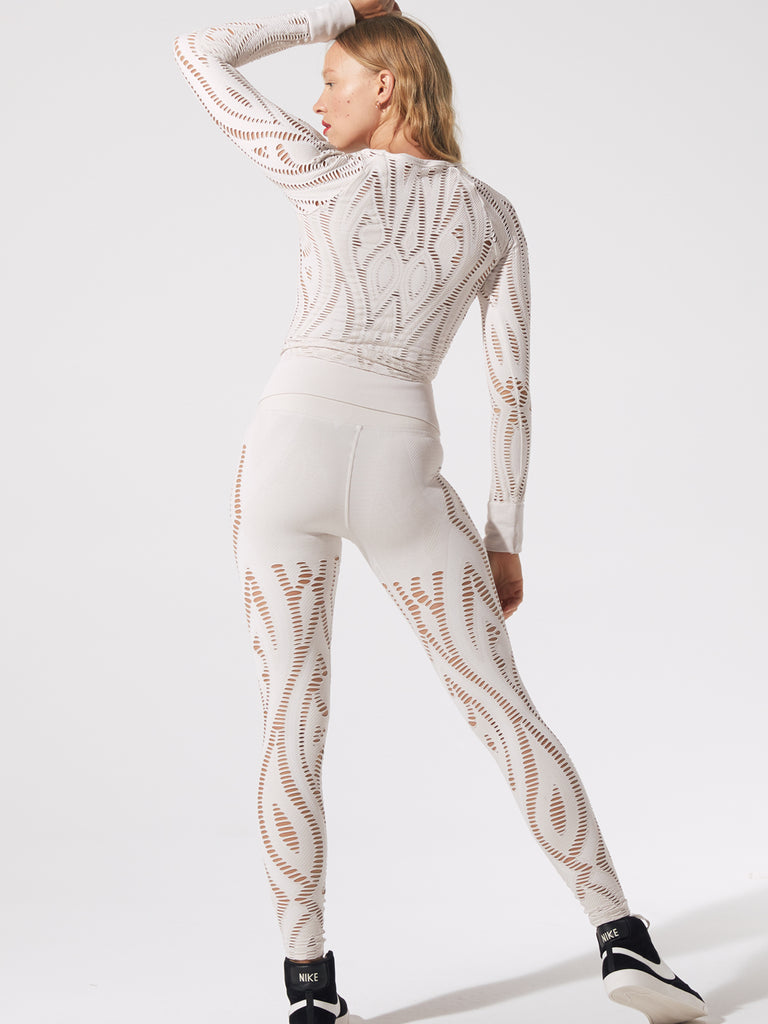 Serenity Shred LS Top in White Sand