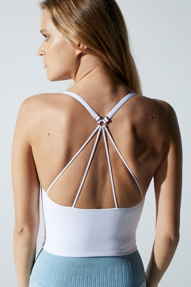 Stella Strappy Back Bra in White