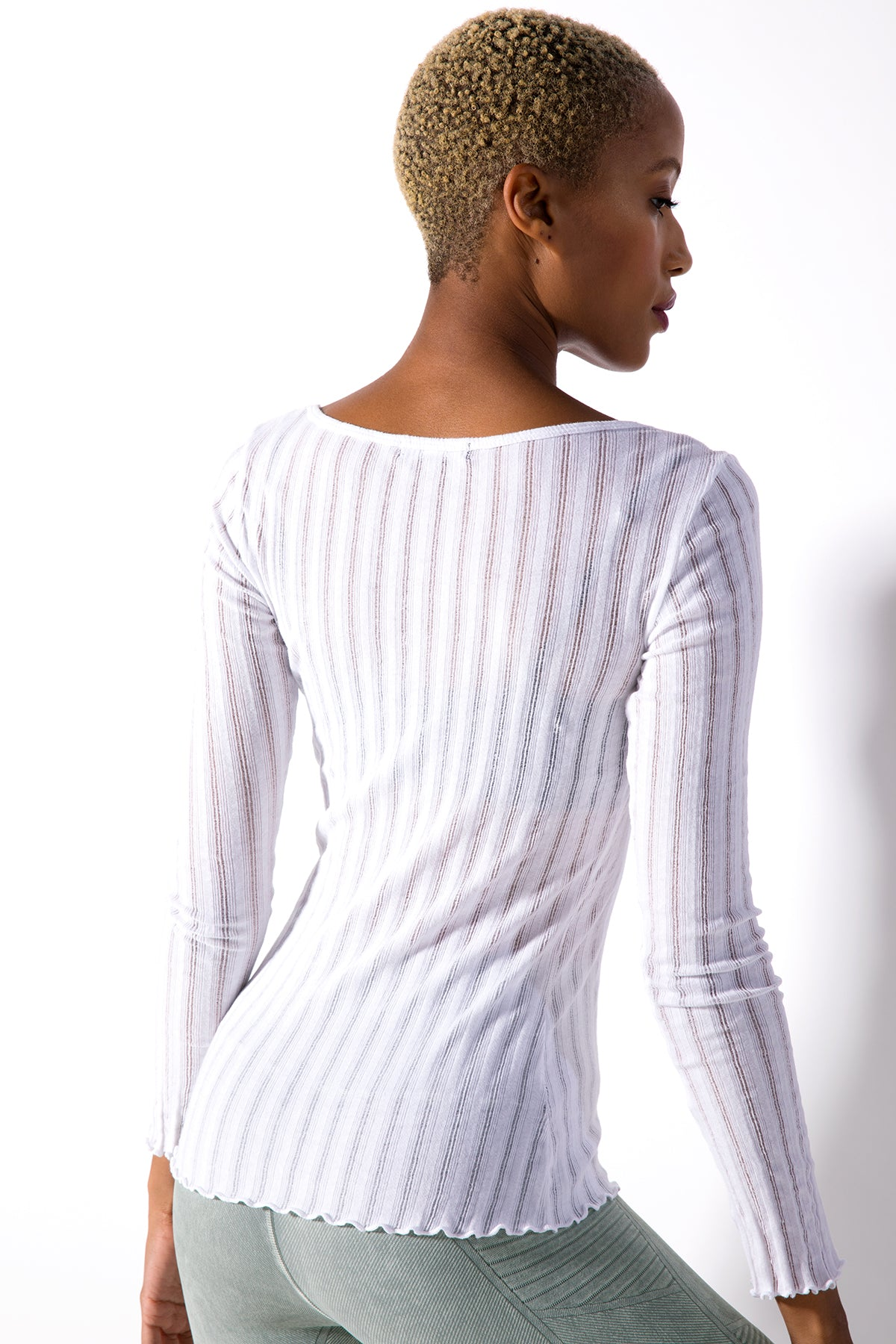 Taylor U-Neck Long Sleeve Top in White