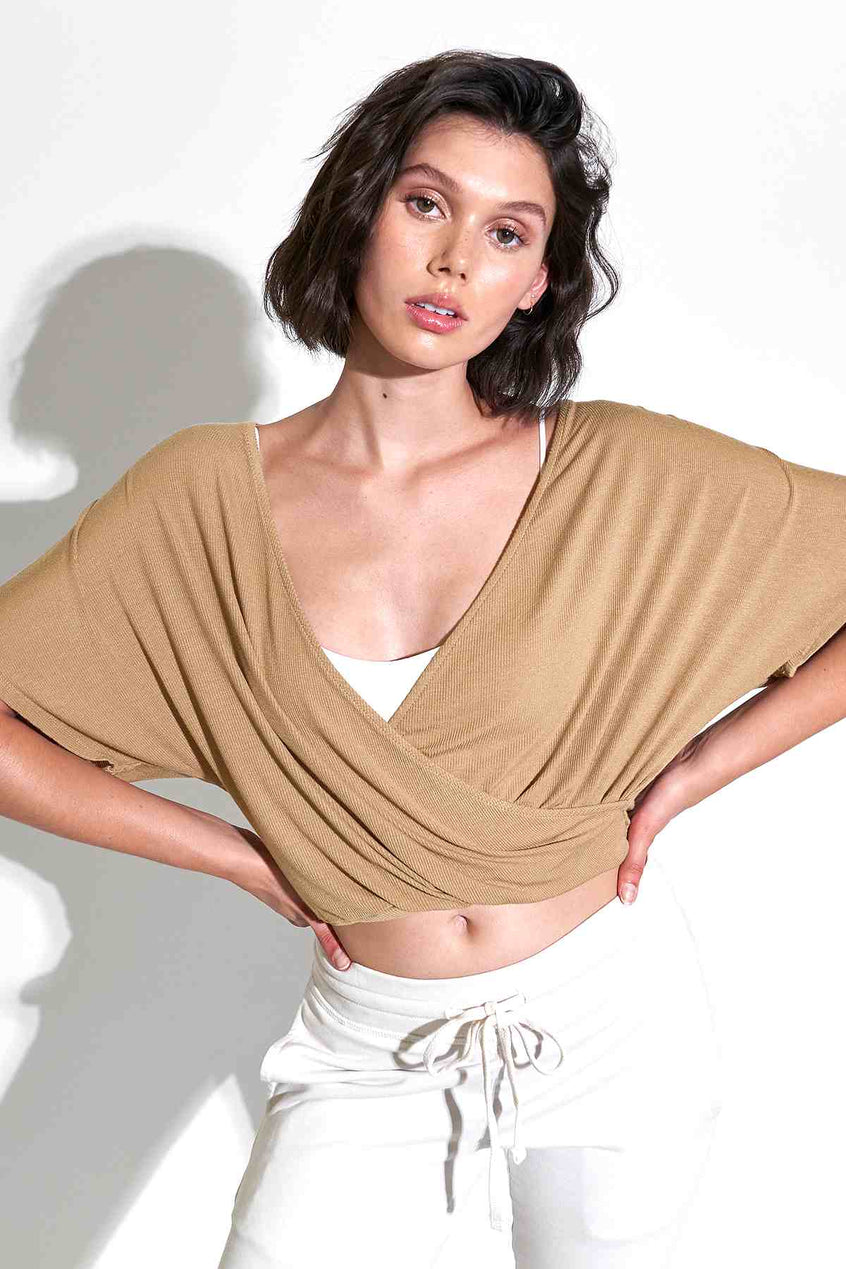 Wylie S/S Wrap Top in Camel