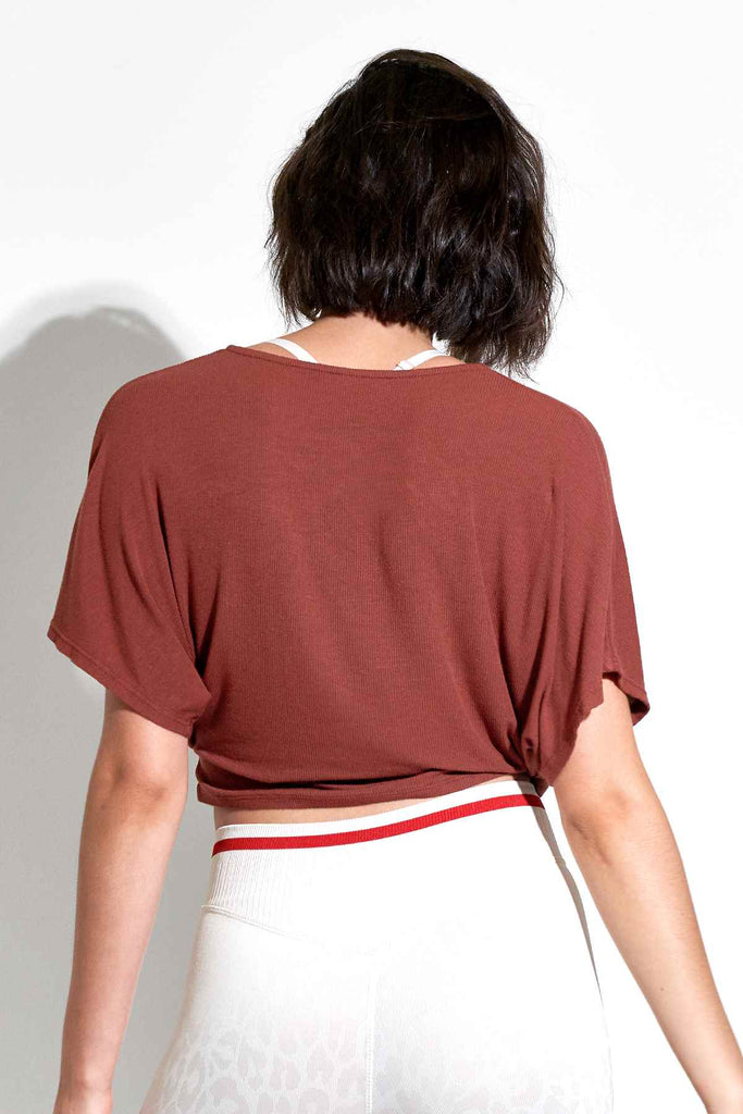 Wylie S/S Wrap Top in Fired Brick