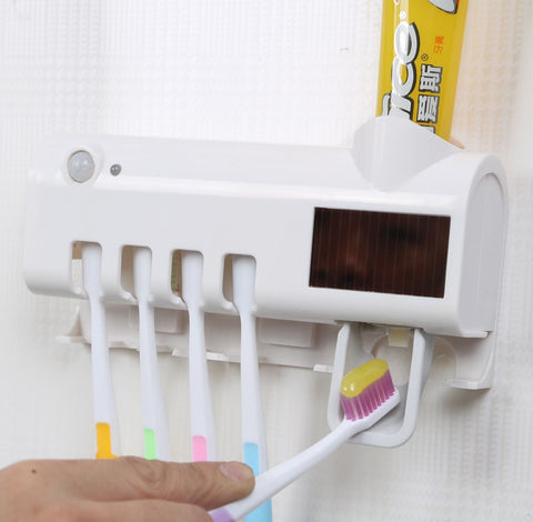 Automatic Toothpaste Dispenser Wall Mount Dust-proof Toothbrush Holder SP