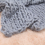 Large Chunky Knitted Thick Blanket Yarn Woolen Throw Sofa Blanket