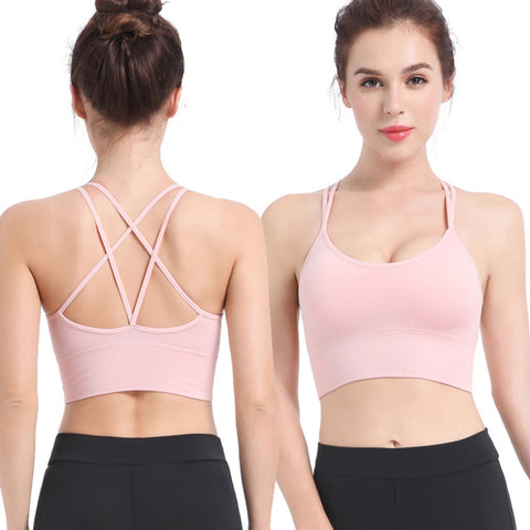 Sport Bras Cross Back Padded Cross Cropped Bras for Yoga Fitness SP