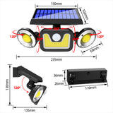 Solar Outdoor 3-Head Adjustable 360°Rotating Wide-Angle Floodlight SP