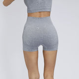 Seamless Yoga Outfit women Short Sleeve with Shorts 2 Piece Set SP