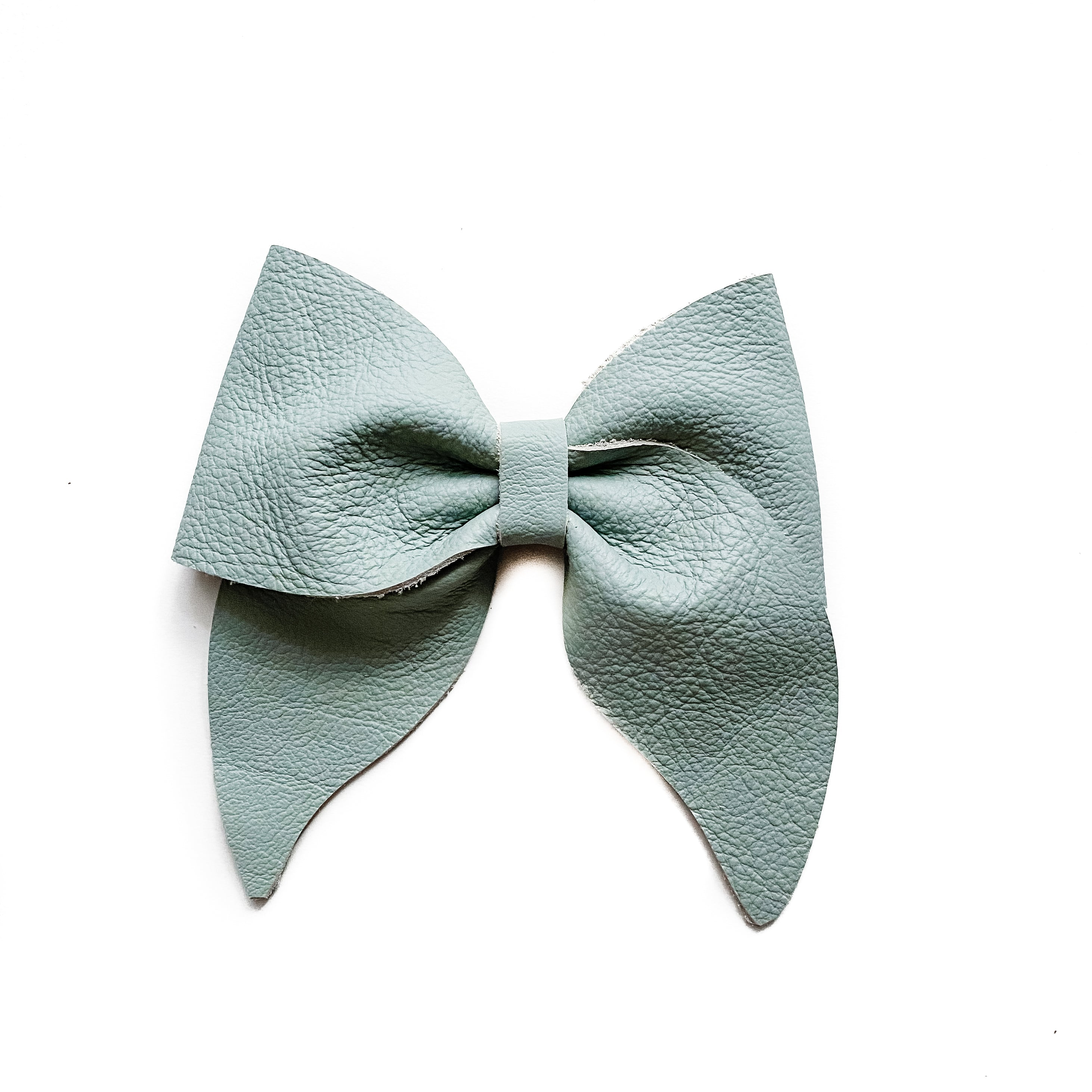 Wren// Faded Sky Leather Bow