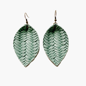 Seafoam Woven Leaf Earrings